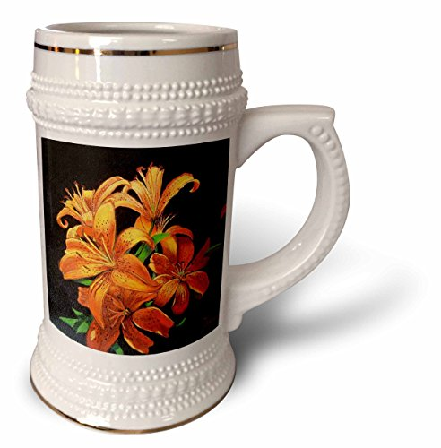 Gladys Bacon Flower - Bright Orange speckled Tiger Lilies floating on black. - 22oz Stein Mug (stn_61499_1)