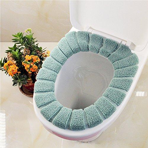 Confezione da 2WC Sedile Cuscino zucca tipo maglia SOLID colore sedile WC universale per seduta tipo Closestool-Super caldo pile-Anello di tenuta, universale Green