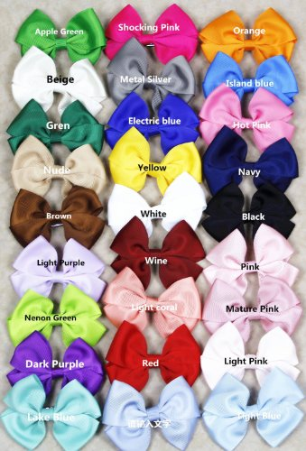 "27 Pcs Colors 3"" Boutique Hair Bows Girls Kids Children Alligator Clip Solid Ribbon 27 Colors"