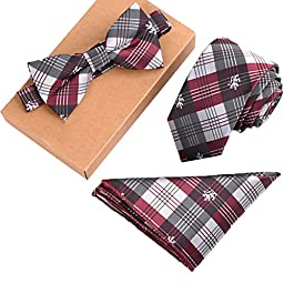 Fashion Polyster Skinny Neck ties and Bowtie Pocket Square 3pcs Set for Gifts 18