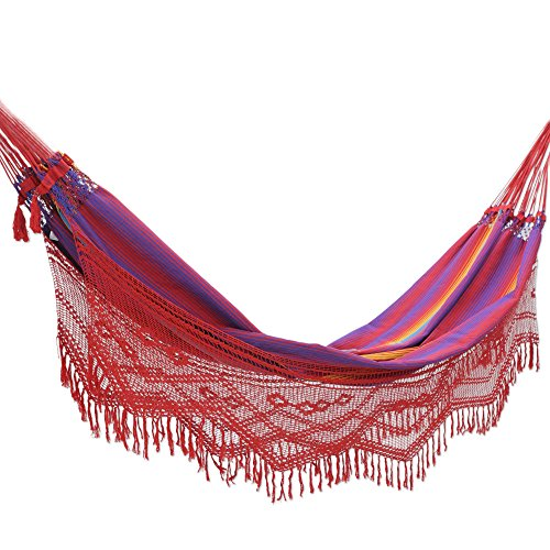 Cotton hammock, 'Forro Dance' (double) – Hand Made Cotton Fabric Hammock (Double)