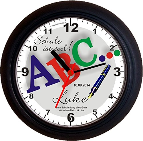 """Lucky Clocks NAMENSUHR – Wanduhr ABC… """"SCHULE IST COOL"""" SCHWARZ +Namen + Datum + Widmung, Geschenk Geschenkidee Schulanfang Einschulung Erster 1. Schultag Klasse A B C Schüler Schütze Schulanfänger Kinder mit Vorname Glücksbringer Viel Glück zum Schulbeginn günstig online kaufen"""