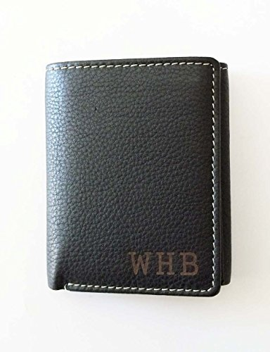 One Personalized Engraved Genuine Leather Wallet -Trifold Black Anniversary gift