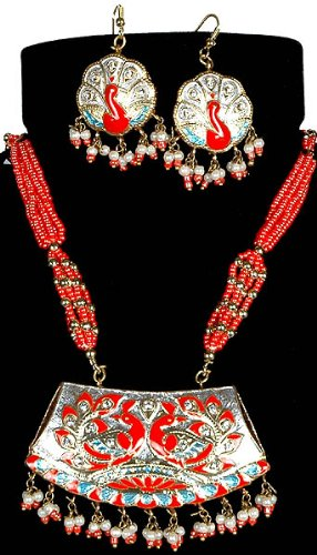 Meenakari Peacock Pair Necklace with Matching Earrings - Lacquer with Cut Glass