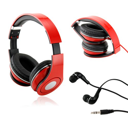 Gearonic Tm Red Adjustable Circumaural Over-Ear Earphone Stero Headphone 3.5Mm For Ipod Mp3 Mp4 Pc Iphone Music + Free Earbuds