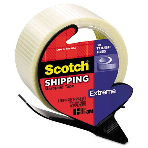 "Scotch Products - Scotch - Extreme Application Packaging Tape & Dispenser, 1.88"" x 21 yards, 3"" Core - Sold As 1 Roll - Extreme application packaging tape for heavy weight packages boxes and overseas/export shipments. - Polypropylene backing reinforced with bi-directional continuous glass yarn across length and width--offering you a 150 lbs. per inch tensile strength longitudinal and 50 lbs. per inch width in cross direction. - Utilizes a specially formulated rubber resin adhesive that bond"
