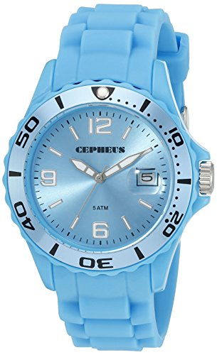 Cepheus Men's Quartz Watch with Turquoise Dial Analogue Display and Turquoise Silicone Strap CP603-090D-1