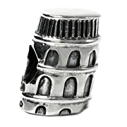 Queenberry Landmark Series Sterling Silver Italy Tower of Pisa European-style Bead Charm