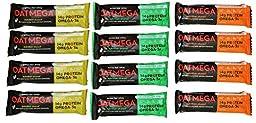 Oatmega Grass-Fed Whey Bars Variety Pack of 12
