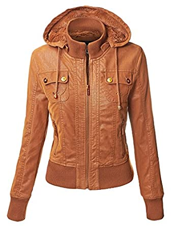 MBJ Women's Hooded Brushed Faux- Leather Jacket S CAMEL