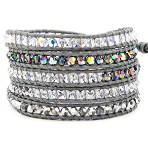 Chan Luu Grey Crystal Mix Wrap Bracelet on Grey Leather