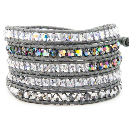 Chan Luu Grey Crystal Mix Wrap Bracelet on Grey