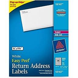 Avery Dennison 18167 Return Address Label,Laser/Inkjet,1/2 in.x1/3/4 in.,800/PK,White