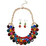Qiyun (TM) Multiple Round Beaded Torsade Chunky Bib Choker Collar Necklace Earrings Set