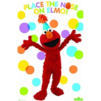 Sesame Street Party Game is a great way to keep guest busy. This game set includes 1 poster and 8 stickers. Poster Features Elmo in a party hat on a polka dot background.