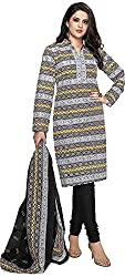 SP Marketplex Women's Cotton Unstitched Dress Materials (Spmsg305, White And Black)