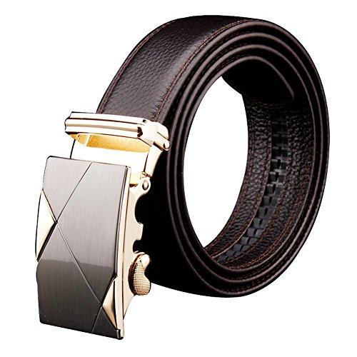 Men's Leather Belt Sliding Buckle 35mm Ratchet Belt Brown (Cool Belt Buckels compare prices)