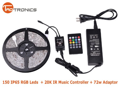 Newest Promotion TaoTronics® TT-SL029 IR Music Sound Activated 5M 5050 RGB 150 LED Waterproof Strip Light with 20Key music IR remoter controller and 72w Adaptor(150 leds, waterproof, 20key)