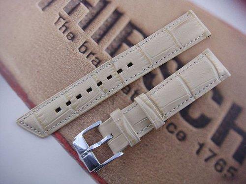 HIRSCH Princess M, Alligator Grain Watch Strap in Beige, 16 mm, Steel Buckle