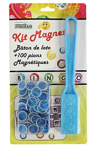 Bâton magnétique + 100 pions de loto bingo bleu