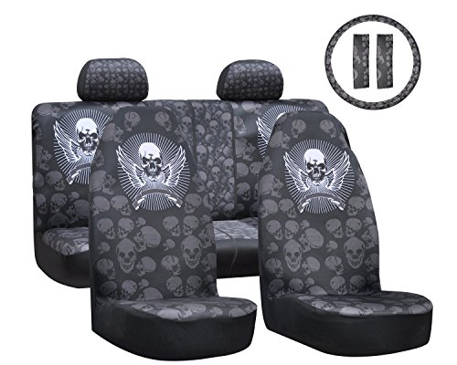 Car Seat Covers 9pcs Full Set 50/50 or 60/40 Rear Split Bench with Cool Sleek Stylish Skull Universal Fit for SUV Truck Van Vehicle Auto Accessories (Skull Seat Covers A compare prices)