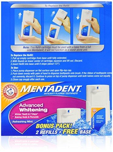 Mentadent Advance Whitening Refreshing Mint Bonus Pack Free Base & 2 Refills 5.25 OZ (Mentadent Dispenser compare prices)