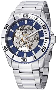 """Stuhrling Original Men's 773.02 """"Aquadiver Antilles"""" Stainless Steel and Blue Skeleton Dial Automatic Watch"""
