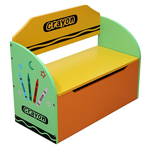 Bebe Style Childrens Wooden Toy Storage Box and Bench - Crayon Themed