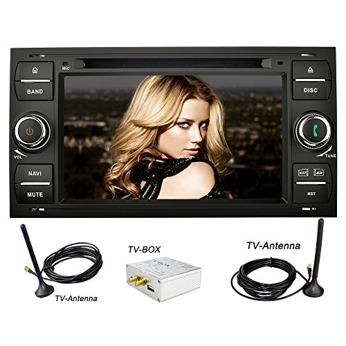 YINUO-7-Zoll-2-Din-Touchscreen-In-Dash-Autoradio-Moniceiver-DVD-Player-GPS-Navigation-7-Farbe-Tastenbeleuchtung-fr-Ford-C-MaxConnectFiestaFocusFusionGalaxyKuga-S-MaxTransitMondeo-Schwarz-DVB-T-BOX-