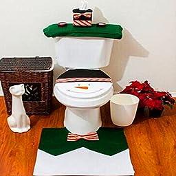 EIALA Christmas Decoration Santa Toilet Seat Cover & Rug & Tissue Box Cover Bathroom Set Gift (Green, Chrismas Snowman)