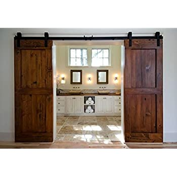 Unionline 13 Ft American Style Sliding Wood Barn Door Hardware Sliding Track Kit Steel J Style