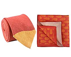 Chokore Red and Orange Linen tie and silk pocket square set