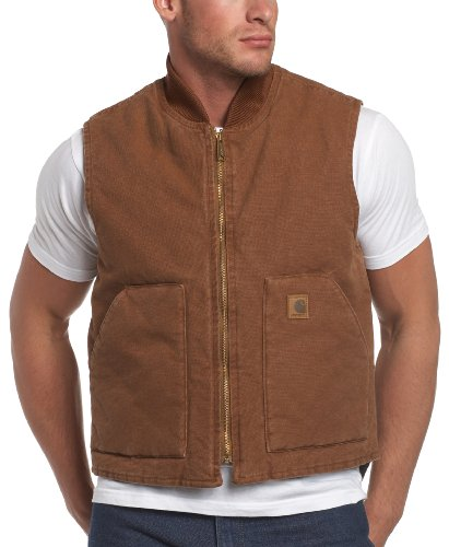 Carhartt Men's Arctic-Quilt Lined Sandstone Vest,  Brown,  Large Tall