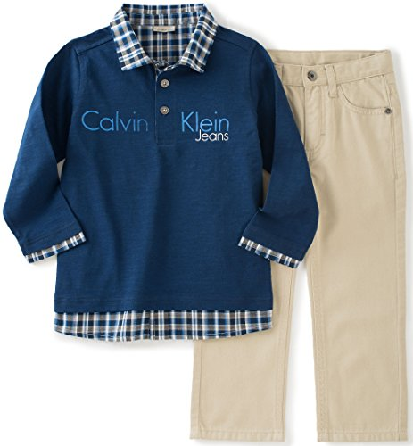 Calvin Klein Baby Boys' Polo Top and Twill Pants Set, Blue, 18 Months