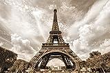 Eiffel Tower photo wallpaper - decoration romance XXL mural poster - Tour d'Eiffel Paris wallpaper wall decoration 55 Inch x 39.4 Inch