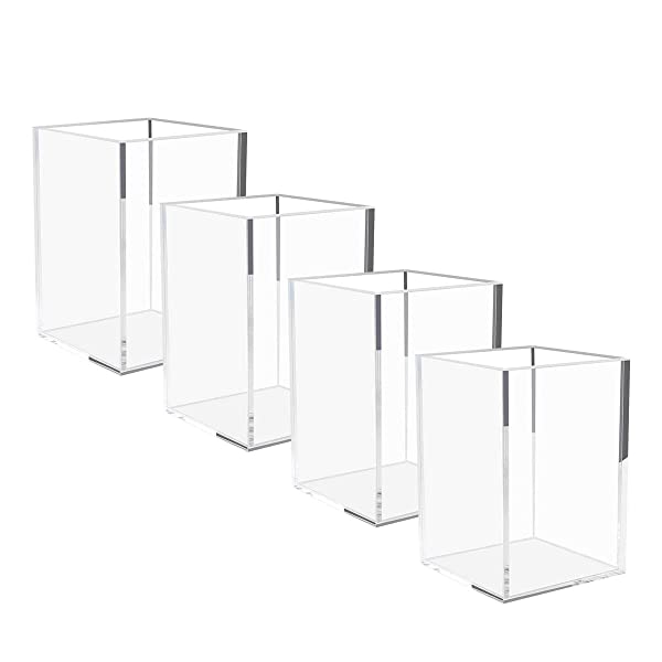 Vaydeer Metal Pencil Pen Holder Desk Aluminum Supplies Organizer and Cup Storage Stationary Sturdy 3.1/×3.1/×3.9inch,Silver/…