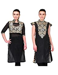 Cenizas Women's Raw Silk Black Kurtas Pack Of 2 ( 9055BLK & 9056BLK)