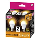 ルミナス LED小型電球 E17口金25W相当 電球色 広配光タイプ 密閉器具・断熱施工器具対応 2個セット CM-A25GML2