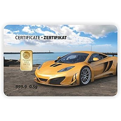 Goldbarren Geschenkkarte 0,5 g 0,5g Gramm Feingold 999.9 Nadir Gold Auto