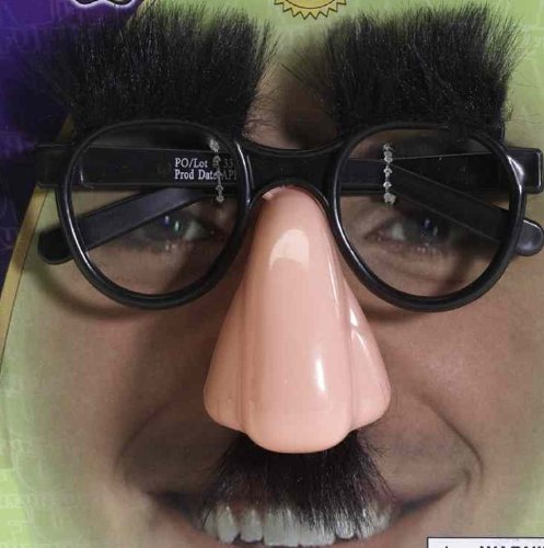 Groucho Glasses: Nose, Eyebrows And Fuzzy Mustache Glasses - 1