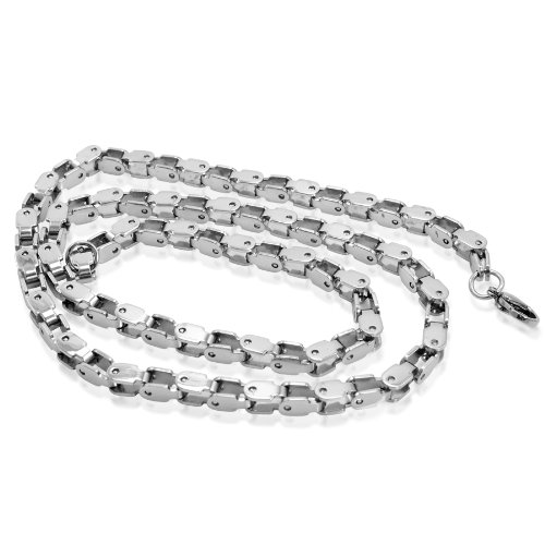 Mens Silver Tone Stainless Steel 24 inch Chain Necklace