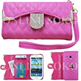 NEW DIAMOND BLING MAGNETIC WALLET PU LEATHER FLIP CASE COVER FOR SAMSUNG GALAXY S3 MINI i8190 (hot pink)