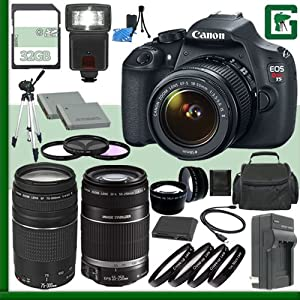 Canon EOS T5 Digital SLR Camera Kit with 18-55mm IS STM Lens and Canon EF 75-300mm III Lens and Canon 50mm f/1.8 Lens + 32GB Green's Camera Package 1