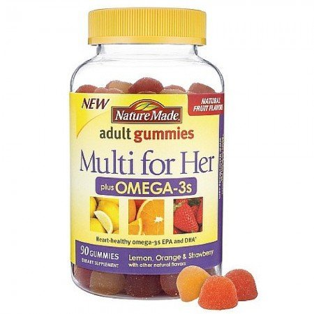 Nature Made Multi for Her Plus Omega-3s Adult Gummies, Lemon, Orange & Strawberry 90 ea (Nature Made Gummy Multi compare prices)