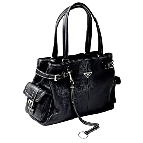Prada Black Leather BR2958 Tote Handbag