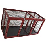 """Pawhut 54"""" x 25"""" x 27"""" Deluxe Wood Pet Dog Crate - Dark Red Wood"""