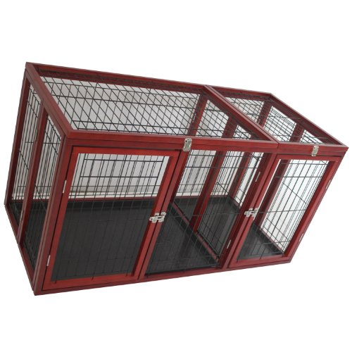 "Pawhut 54"" X 25"" X 27"" Deluxe Wood Pet Dog Crate - Dark Red Wood front-821885"