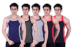 Zimfit Superb Gym Vests - Pack of 5 (BLU_GRN_GRY_BLK_BLK_80)