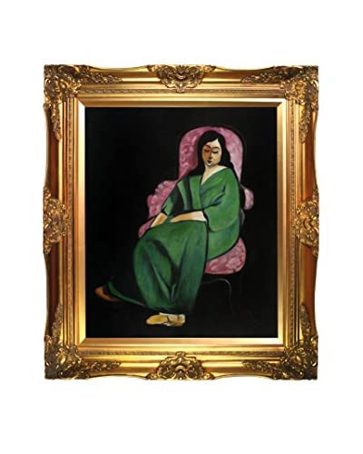 Henri Matisse's Lorette In A Green Robe Against A Black Background Framed Hand Painted Oil On Canv...
