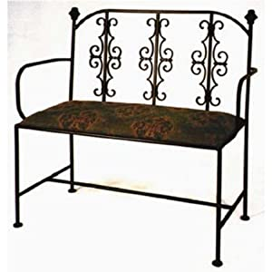 Grace Gothic Wrought Iron Loveseat, 40in, Giraffe Fabric, Cobblestone Finish